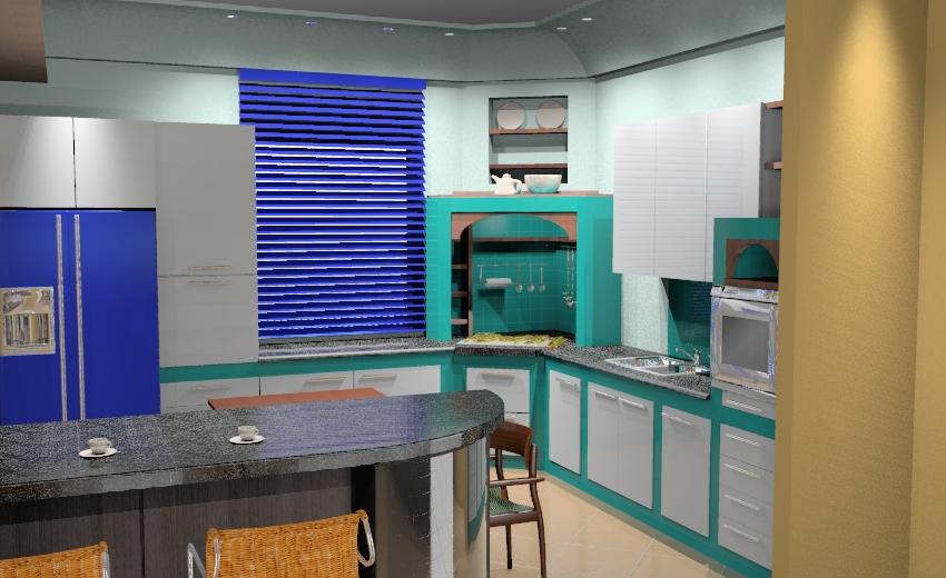 Cucina soggiorno prova illuminazione artificiale w i p - Software cucine 3d ...