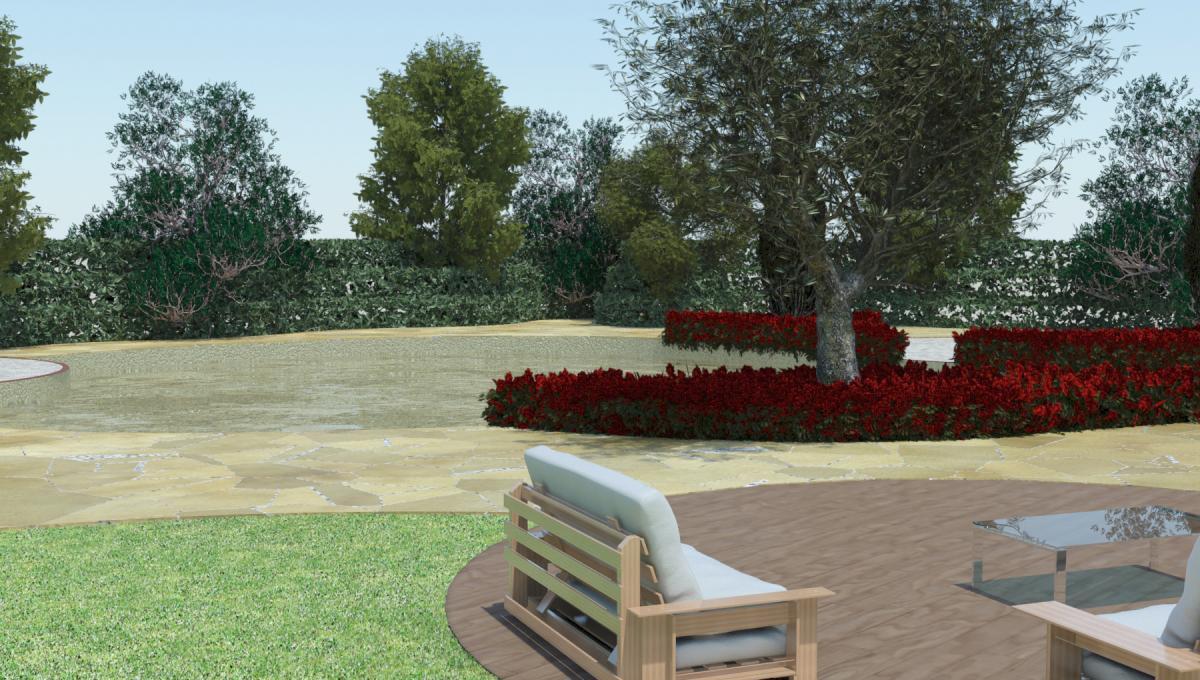 Giardino con piscina final architettura e interior for Giardino 3d gratis italiano