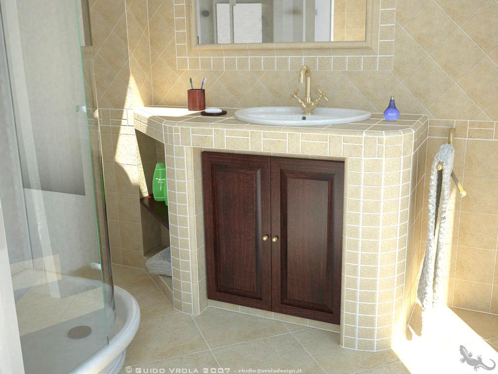 Progetto bagno in muratura final architettura e for Arredo bagno muratura
