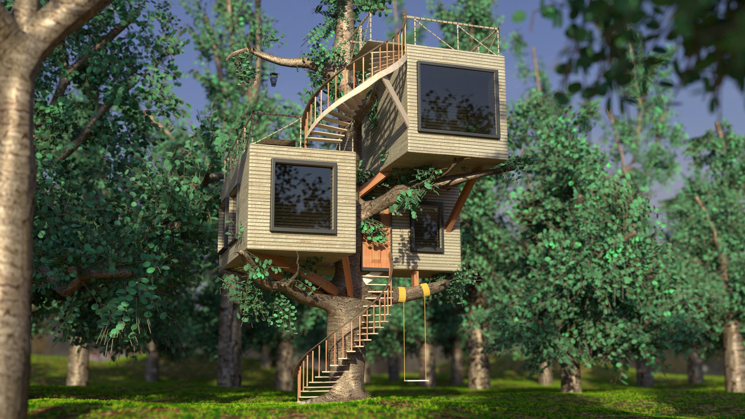 Casa sull 39 albero stile moderno final immagini cg vfx for Stile moderno casa
