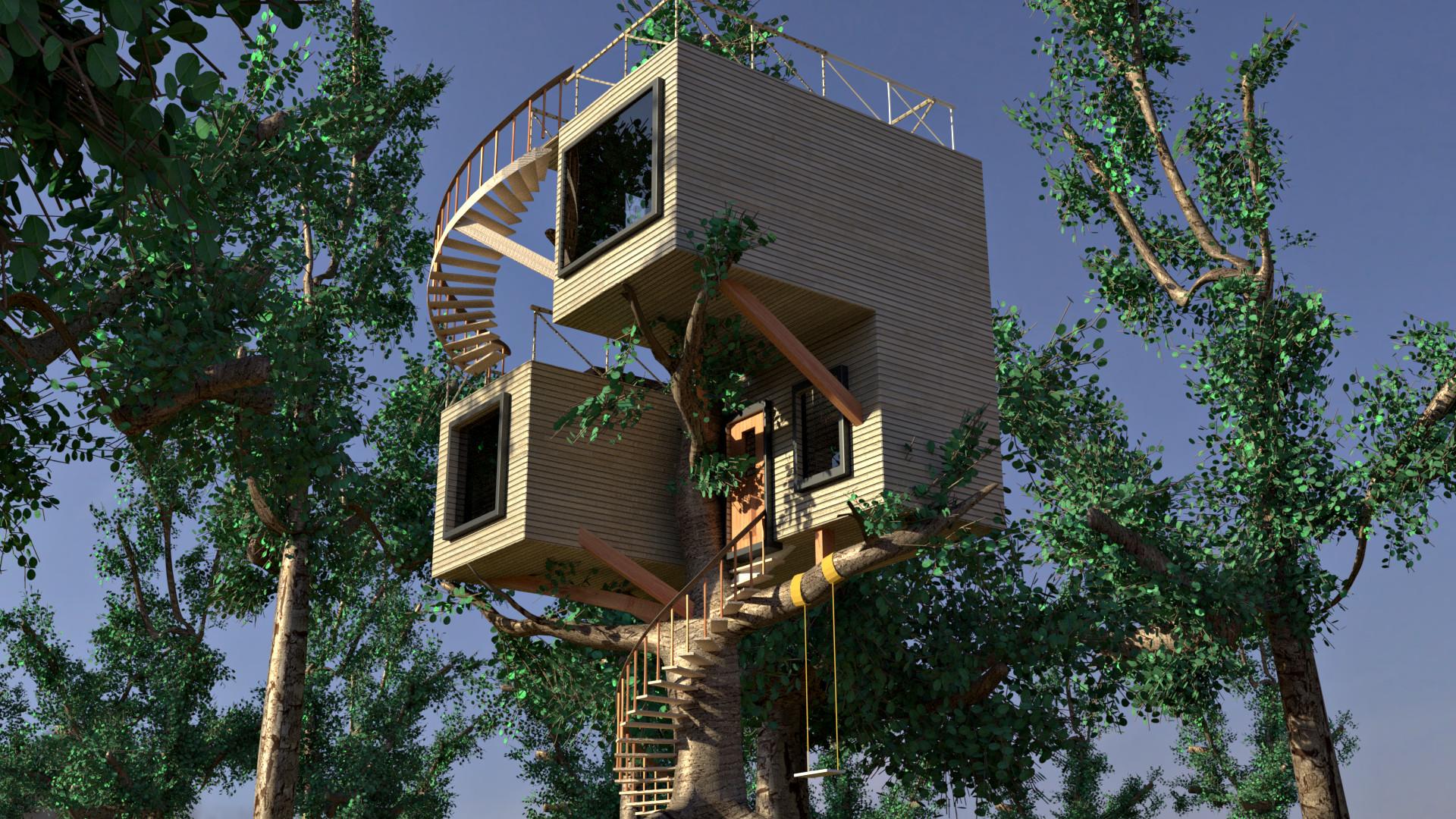Casa sull 39 albero stile moderno final immagini cg vfx - Casa sull albero minecraft ...