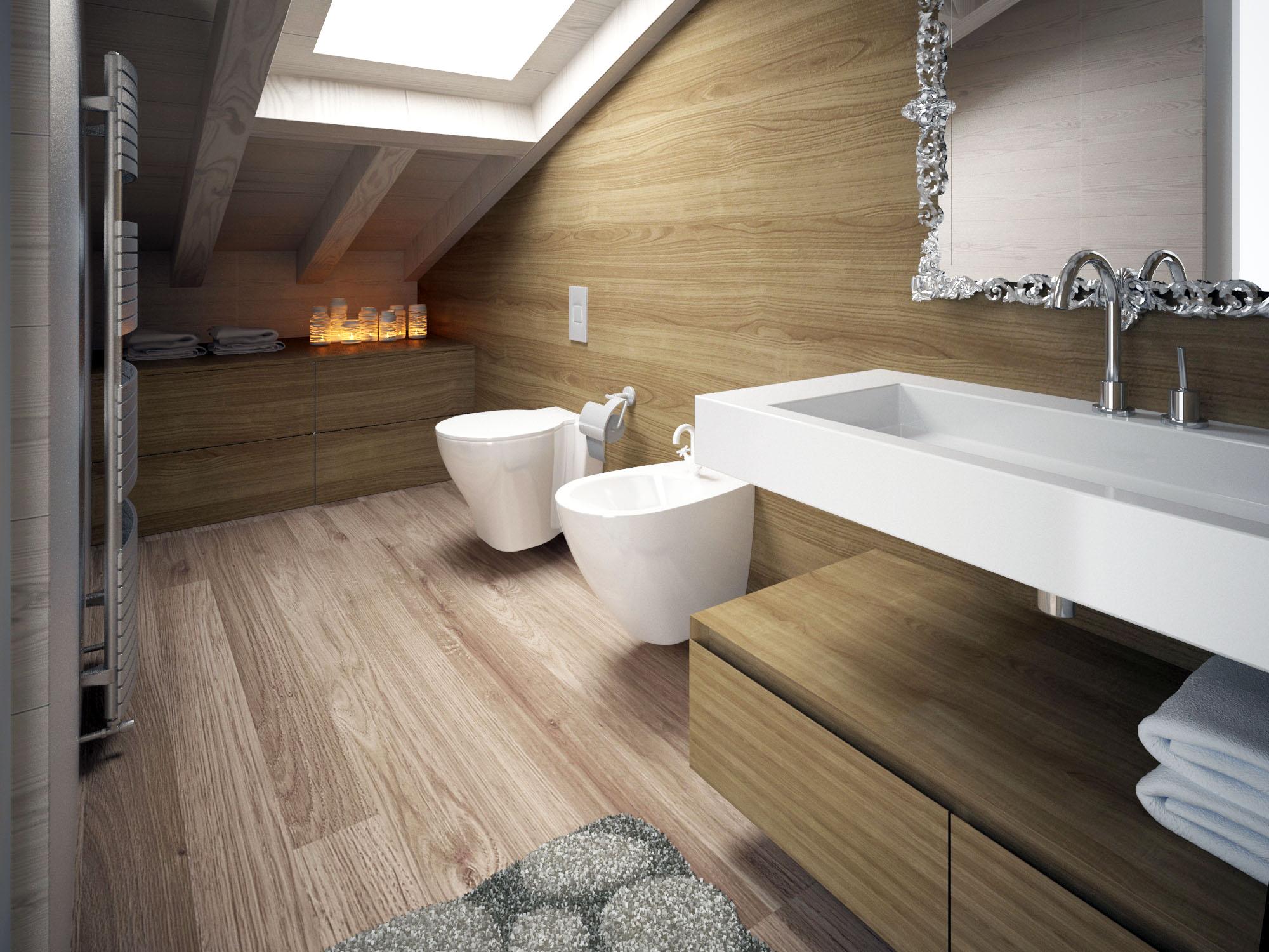 Bagno sottotetto moderno seso 75 for Arredamento per sottotetto
